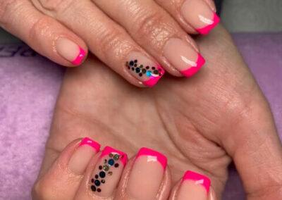 Pink mintás francia műköröm